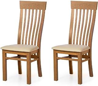 Marca Amazon -Alkove - Hayes - Set de 2 sillas clásicas de madera con asiento tapizado (roble salvaje)