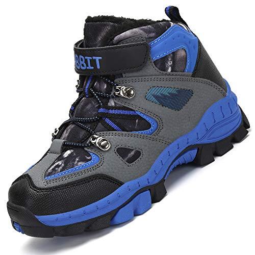 Mishansha Kinder Trekking Wanderstiefel Bequem Warm Boots Winterschuhe rutschfeste Mid Schneestiefel Klettverschluss Baumwollschuhe für Jungen Gefüttert Stiefel Beiläufig Warm Boots, Blau 29