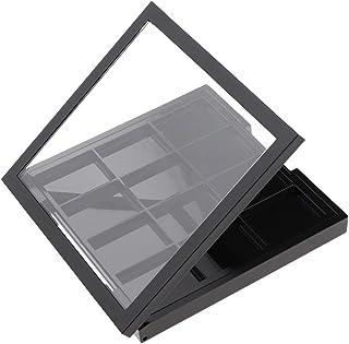 Lege poeder make-up palet doos voor oogschaduw blusher lippenstift cosmetica diy plaat, 12 roosters zwart (Kleur: CHINA)
