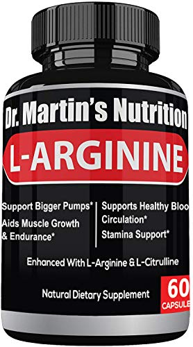 Extra Strength L Arginine Nitric Oxide Supplements | for Muscle Growth, Increase Energy & Endurance & Boost Heart Health |