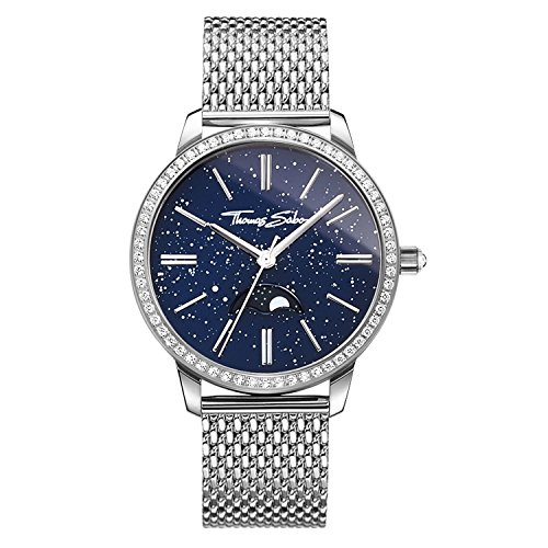 Thomas Sabo Damen-Armbanduhr Glam Spirit Moonphase blau Analog Quarz WA0326-201-209-33 mm