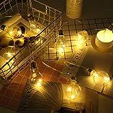 8Ft Globus Saiten Leuchten, 10 klare Edison-GlühBirnen, BatterieBetriebene warme weiße KupferDraht-sternSchnuppen für Hochzeit, SchlafZimmer, Deckhof, Zelte, Café, Garten, Reise, Strand, Party-Dekor