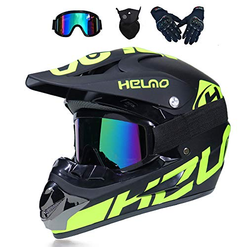 MRDEAR Casco Motocross Niño Casco Descenso Enduro MTB Hombre, Negro y Verde, Adulto Casco Moto Cross MX Quad Off Road ATV Scooter con Gafas Máscara Guantes (L)