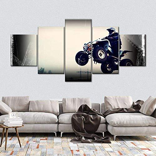 Airxcn Impresiones en Lienzo Cuadro de Lienzo de 5 Partes Quad Bike Stunt Cuadro de Lienzo múltiple 5 Paneles Impresión de Arte de Pared Imagen Completa Carteles Impresos Obras de Arte