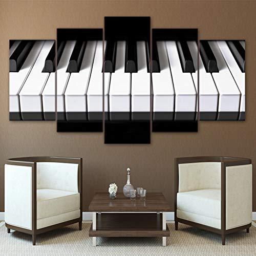 GIAOGE Schilderijen Wandkunst Canvas Afbeeldingen Hd Prints Modern Home Decor 5 Stuks Piano Sleutels Schilderijen Voor Woonkamer Muziek Poster Framework No Frame 20x35 20x45 20x55cm