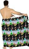 LA LEELA Men Christmas Santa Claus Sarong Swimsuit Tie Cover Up Wrap Beach Resort One Size Black_C70