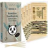 Cure-dents en bois: 1000x cure-dents en bambou multiusage pour l'hygiène dentaire, l'art plastique et la deco ou pour aperitif et cocktail- Cure dents en bois de bambou qualité supérieure LIVAIA