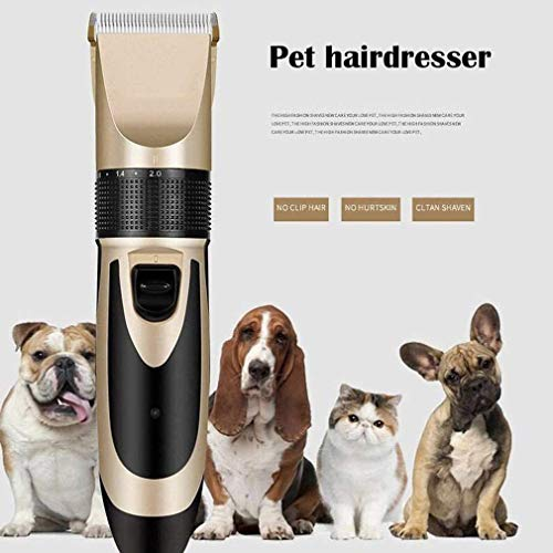 Pet Hair Clippers, Pet Grooming Clippers, Low Noise Dog Shaver Clippers, Professional oplaadbare accu-elektrische Rustig Hair Clippers, Huisdieren Hair Fur Trimmer Set Shaving Tool (Gold)