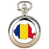 Reloj de bolsillo vintage de cuarzo plateado para hombre, creativo diseño de mapa de Rumanía para mujer, correa de reloj de bolsillo de aleación duradera para hombre