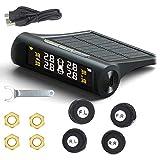 SODIAL Sistema de Control de Presión de Neumáticos Tpms Coche Inteligente Carga de Energía Solar Pantalla LCD Digital Sistemas de Alarma de Seguridad de Auto