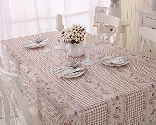 Vinylla Mantel para mesa de tela de guinga (PVC, fácil limpieza), diseño de cuadros y rosas - 140x140cm