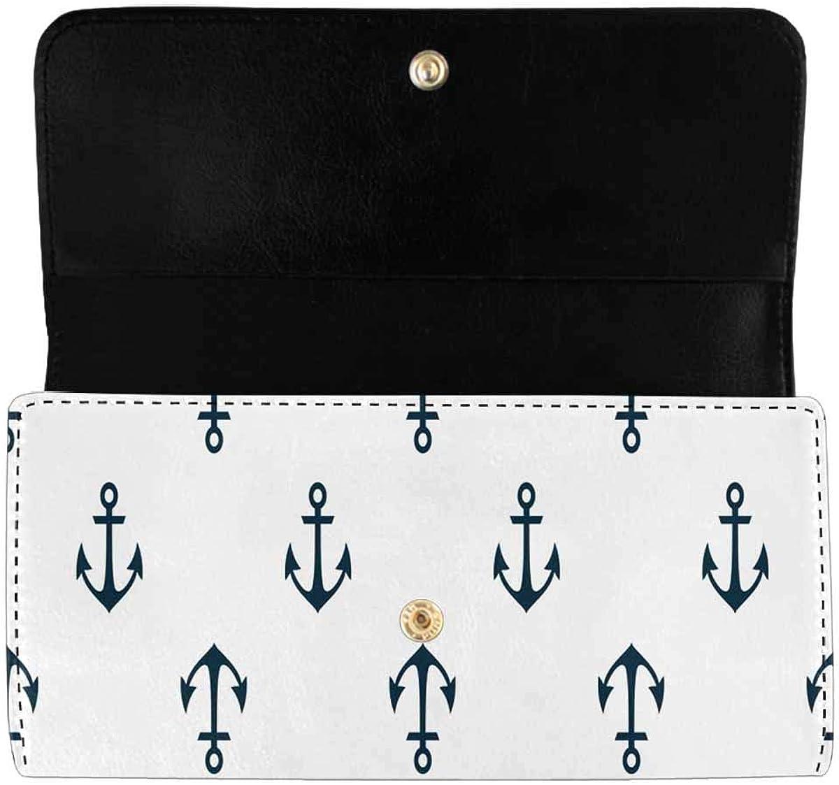 InterestPrint Women's Trifold Long Clutch Wallets Anchors Summer Ocean Card Holder Purses