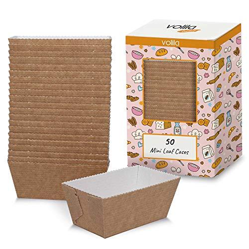 volila Kuchen Papier-kastenform für Einweg-Backformen für Kuchen, Brot und Muffins in Papier-Braunformen (50er Pack)