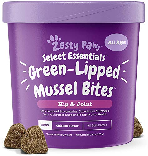 New Zealand Green Lipped Mussel Chewable Treats for Dogs - 500 mg Dog Hip & Joint Support Supplement Soft, 90 Count, Assorted