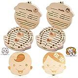 Scatola per denti da latte, 2 PCS scatola per conservare i denti in legno con borsa, fialetta e pinzette per bimbi e bimbem (Ragazzi & Ragazza)