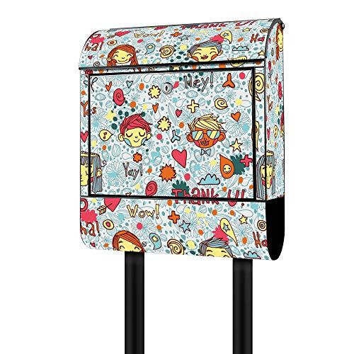 Banjado Design Briefkasten mit Motiv Wow Hey Haha | Stahl pulverbeschichtet mit Zeitungsrolle | Größe 39x47x14cm, 2 Schlüssel, A4 Einwurf, inkl. Montagematerial