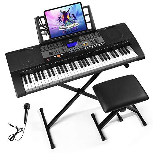 Mustar 61 Key Full Size Touch Keys Piano Keyboard, Portable Electronic Touch Sensitive Keyboard Piano