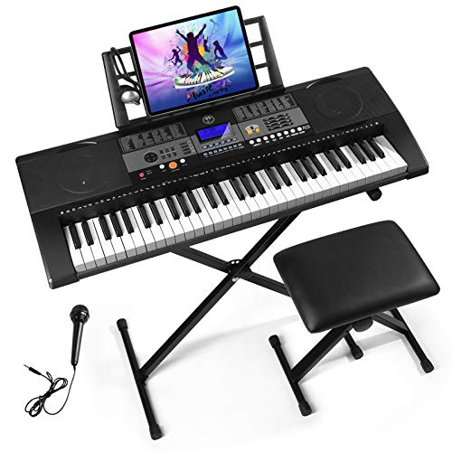Mustar 61 Full Size Touch Keys Piano Keyboard, Portable Electronic Music Keyboard Kit with Stand, Stool, Microphone,Headphone & Power Supply,