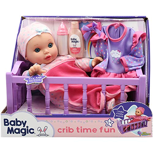 """Baby Magic Crib Time Fun (6556), 12"""" Soft body baby doll, 6 different baby sounds, molded crib, accessories and bonus outfit. Age 2+, Caucasian [Amazon Exclusive]"""