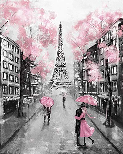 Faicai Art Black and White Wall Art HD Prints Landscape Canvas Paintings Paris Street Artwork European City Wallpaper Eiffel Tower Pink Trees Couple Modern Wall Decor Pictures Wooden Framed 28x40inch
