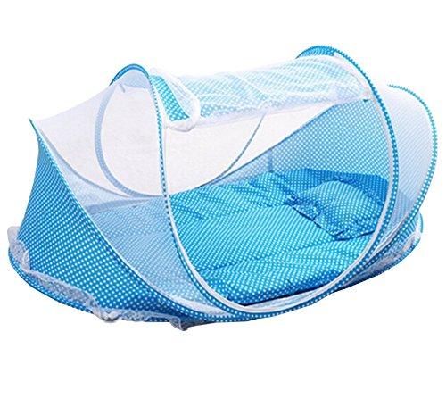 LAAT cama tienda de viaje con mosquitera para bebé, protección contra insectos, cuna tienda de playa infantil plegable protección ideal contra avispas y mosquitos resistente y lavable Navidad (4)