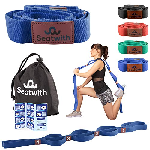 Gymnastik-Gurt mit 10 Schlaufen | Yoga-Gurt 200 x 4 cm | Stretch-Strap für mehr Beweglichkeit | Gratis Transportbeutel & Traininsanleitung PDF| Fitness Pilates Physiotherapie Stretch-Gurt(BLAU)