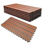 SONUG WPC Holz Kunststoff Fliesen Terrassenfliesen,30x60cm,6 Stück,braun,Terrassenfliesen Klickfliesen Balkonfliesen Wasserdicht,korrosionsbeständig