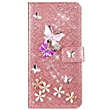 IKASEFU Compatible with iPhone 6 Plus/6S Plus Case Glitter Shiny butterfly Rhinestone Floral Pu Leather Diamond Flash Bling Wallet Strap Case with Card Holder Magnetic Kickstand Flip Cover,Rose gold