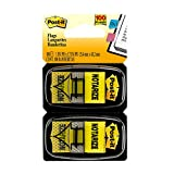 Post-it Standard Page Flags in Dispenser  1in Wide, Yellow 'Notarize' 100 Flags, 680-NZ2