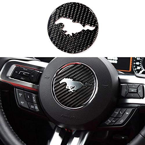TopDall Carbon Fiber Steering Wheel Sticker Cover Compatible for Ford Mustang