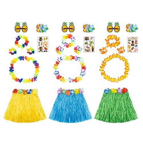 3 Juegos Faldas Hawaianas Set - Disfraz Hawaiana con Faldas de Hierba Gafas de Sol de Piña Guirnaldas Collares Pulseras Pinza de Tatuaje Adhesivo para Decoraciones de Fiesta en la Playa Hawaiana