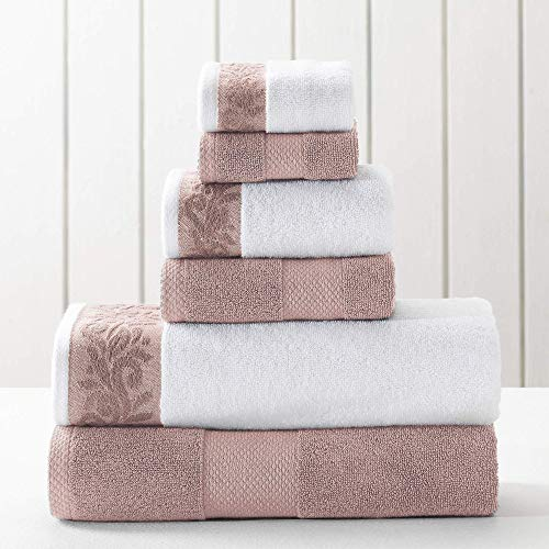 Amrapur Overseas 600 GSM 6-Piece Towel Set with Filgree Jacquard Border, Rose
