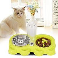 ペットフィーディングボウル、犬猫3色nDisassembleペットフィーダー、犬を飼うための犬(green)
