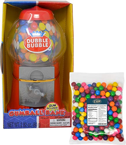 Classic Dubble Bubble 8.5 Inch Gumball Machine with 3 Pound By The Cup Gumballs Bulk Refill