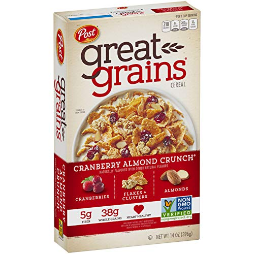 Post Great Grains Cranberry Almond Crunch Whole Grain, Non GMO Verified, Heart Healthy Cereal, 14 Ounce Box
