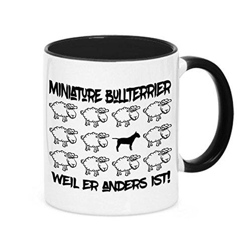 Siviwonder Tasse Black Sheep - Miniature Bullterrier Mini Bull Terrier - Hunde Fun Schaf Kaffeebecher