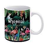 happygoluck1y Taza de café con diseño de flores tropicales, flamencos y loros, 11 onzas para mamá, papá, niños, niñas, divertida taza, taza de cumpleaños de Navidad