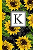 K: Floral Letter K Monogram personalized Journal, Black & Yellow Sunflower...