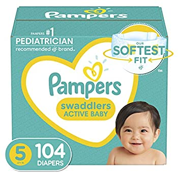 Diapers Size 5 104 Count - Pampers Swaddlers Disposable Baby Diapers Enormous Pack  Packaging May Vary