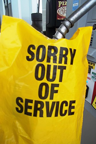 """Yellow Out of Service Bags for Fuel Pumps, 24 Per Sleeve, 6 Sleeves Per Box, 9"""" x 11"""", 4"""" Nozzle Opening at Top"""