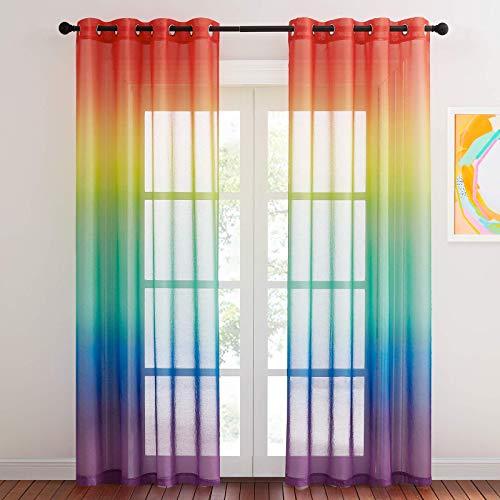 NICETOWN 2 Stücke Kinderzimmer Gardinen Farbverlauf - H 245 x B 140 cm Regenbogen Farbverlauf Vorhänge für Kinderzimmer Dekoschals Halbtransparente Voile Gardinen mit Ösen, Regenbogen
