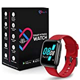 Pro-Fit Go VeryFitPro Smart Watch Activity Fitness Tracker Heart Rate Blood Oxygen Blood Pressure & Sleep Monitor Calorie Counter Pedometer Compatible with iPhone Samsung & Android (ID205U) (Red)