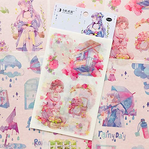 Princess Girls & Flowers Suitcase Paper Sticker Adhesive Stick Label 6 Sheets