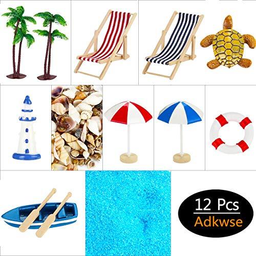 Adkwse 12 STK Strand-Mikrolandschaft Miniliegestuhl Sonnenschirm Palme Deko - 3