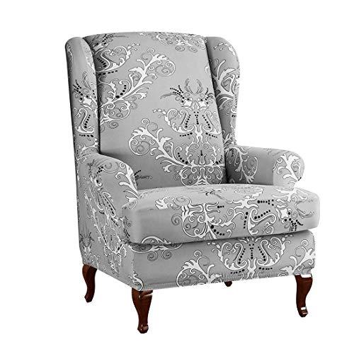 Jubang Ohrensessel Schonbezug, Elastisch Ohrensessel Husse mit Muster Blumen, Sesselbezug Sofaüberwurf Stretch Husse, Schutzhülle für Ohrenbackensessel Grau