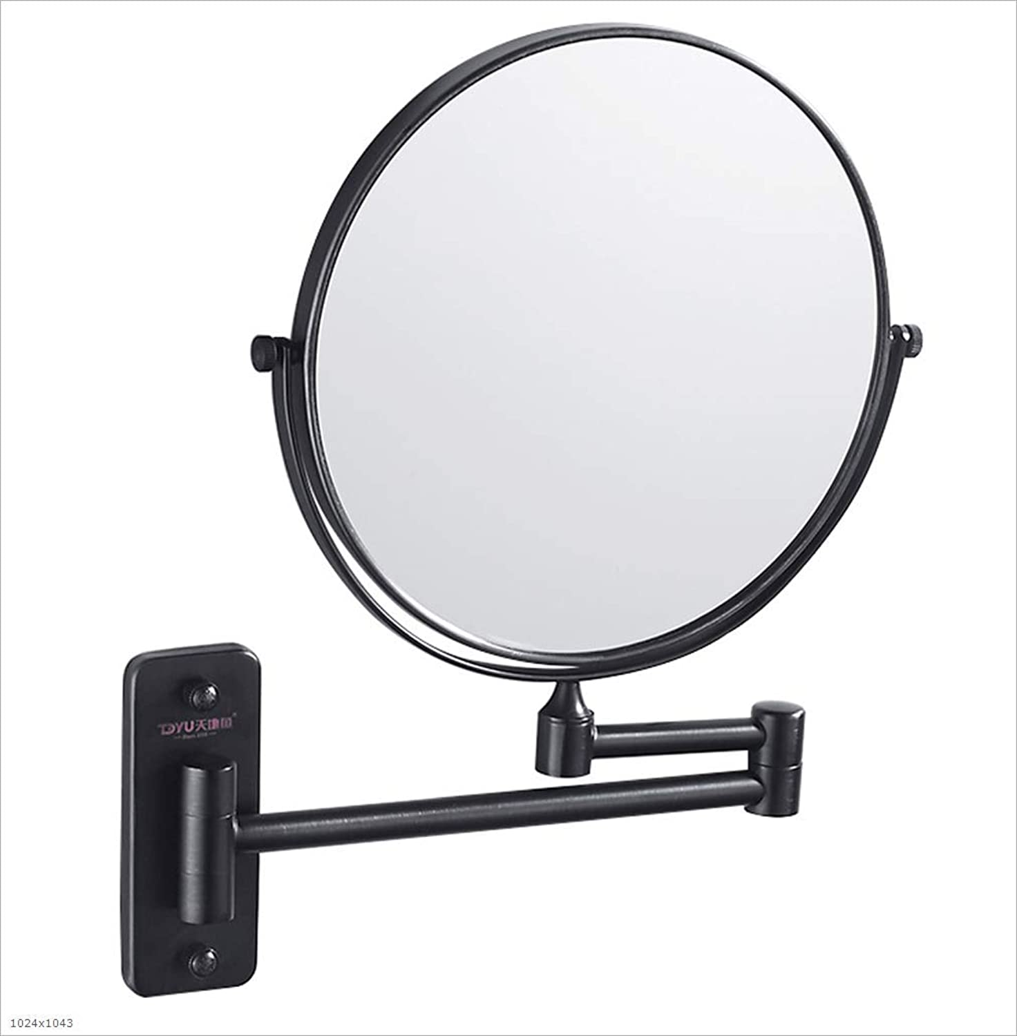 Bathroom Mirror Foldable, Retractable Vanity Mirror, Double-Sided redating Magnifier, Black