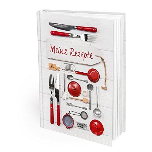 XXL receptenboek om zelf te schrijven, rood-wit keukengerei, DIN A4, Hardcover met recepten verzamelen, eigen kookboek, lievelingsrecepten, boek om in te schrijven, als cadeau, keuken, koken