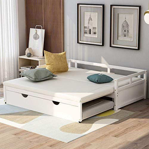 Knowlife Trundle Bed Extending Daybeds Twin Size to King Size with Trundle, Sofa Bed for Bedroom Living Room, White