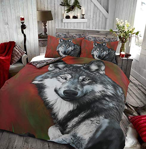 21Fashion Animal Print 3D Panel Duvet Cover Set Polycotton Super King Double Single Bed Set Wolf Double