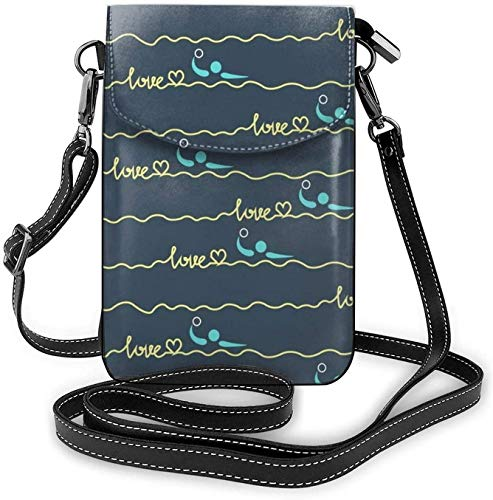 Love Water Polo Heart Best Mom Gift Prints Women Girls Small Crossbody Cell Phone Purse Wallet with Card Slots Mini Messenger Shoulder Bag Wallet with Adjustable Strap for Travel Work Outdoor